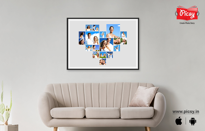 Heart-shaped Photo College On Canvas